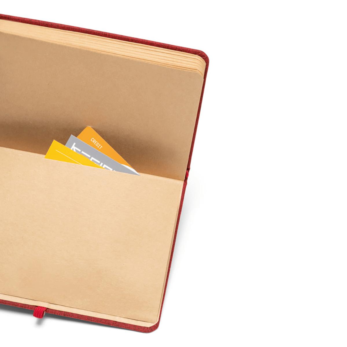 Materiałowy notes z kieszonką